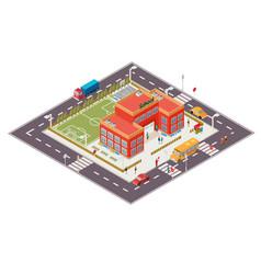 Isometric of school building vector