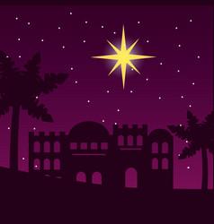 Jerusalem desert palm star night scene vector