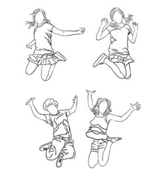kids jumping line art 01 vector image
