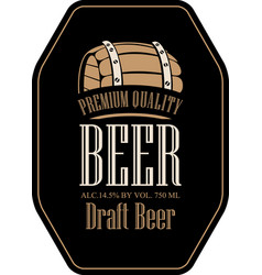 label for beer in retro style with wooden barrel vector image