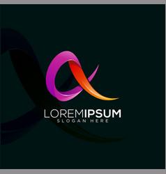 letter a ribbon colorful logo design vector image