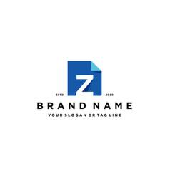 Letter z document logo design vector