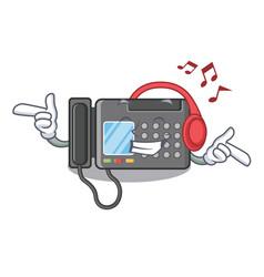 Listening music fax machine above cartoon vector