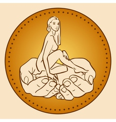 Little woman sitting in male hands vector image