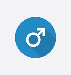 male symbol Flat Blue Simple Icon with long shadow vector image