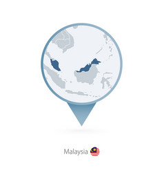 Map pin with detailed map malaysia and vector