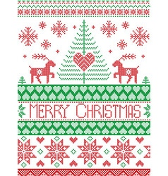 Merry xmas tall xmas pattern with reindeer in red vector image
