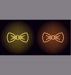neon bow tie in yellow and orange color vector image