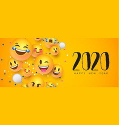 new year 2020 funny 3d smiley face chat icon card vector image