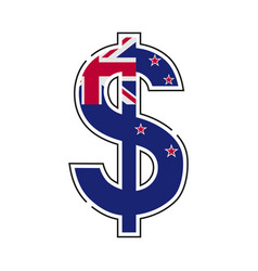 new zealand dollar symbol with a flag icon vector image