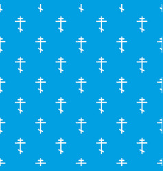 orthodox cross pattern seamless blue vector image