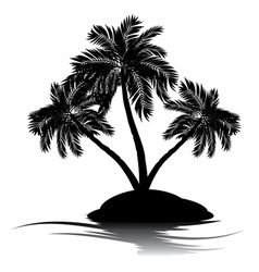 Palm Tree on Island Silhouette5 vector