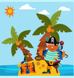 pirate character male standing alone island vector image