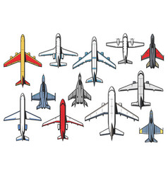 planes airplanes icons aviation military aircraft vector image