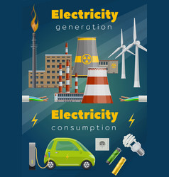 power stations wind turbine electric car wire vector image