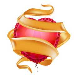realistic heart shape air balloon ribbon vector image