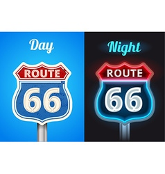 Retro route 66 neon glowing sign vector