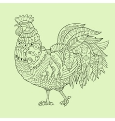 Rooster color drawing vector