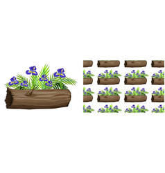 Seamless background design with iris flowers vector