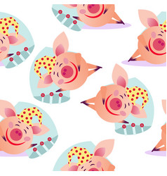 seamless sleeping pig pattern vector image