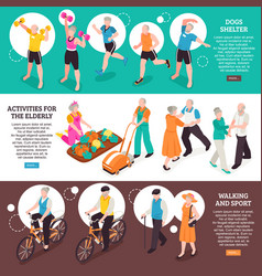 Senior people banners set vector