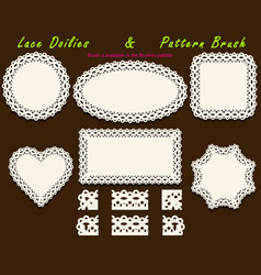set of delicate openwork white lace pattern brush vector image