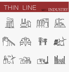 set of factories related line icons vector image