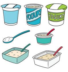 set of yogurt vector image