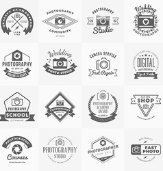 Set photography logo design templates vector