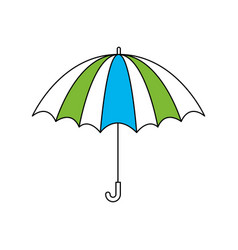 silhouette color section of opened stripe umbrella vector image
