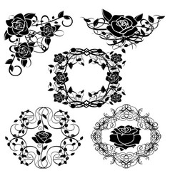 Silhouette of roses flourishes vector