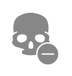 skull with minus grey icon bone structure the vector image