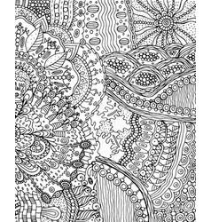 summer doodle landscape fantastic hand drawn vector image