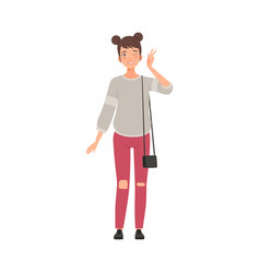 Teenager female with two funny beams on head flat vector