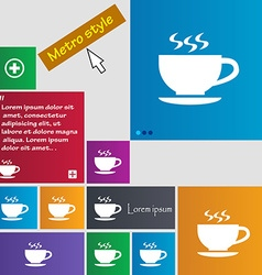 The tea and cup icon sign buttons Modern interface vector image