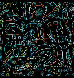 toucans paradise tropical bird seamless pattern vector image
