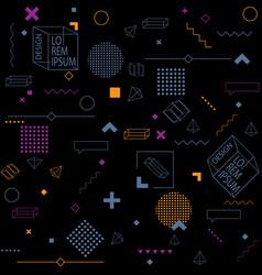 trendy seamless background on black geometric vector image