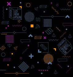 Trendy seamless background on black of geometric vector