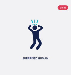 two color surprised human icon from feelings vector image