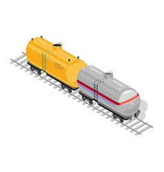 Two goods or freight wagons yellow and grey are on vector