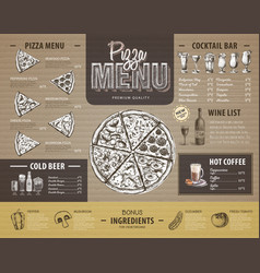 Vintage pizza menu design on cardboard vector