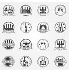 Wine and beer labels vector