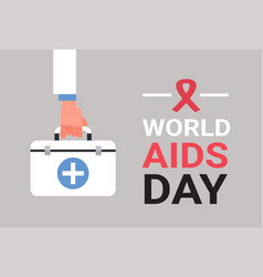 World aids day awareness red ribbon sign hand hold vector