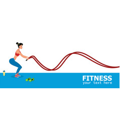 Young female athlete exercising with battle ropes vector