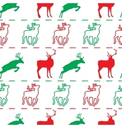 Christmas pattern deer green and red vector