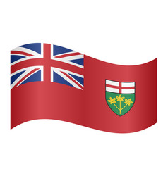 flag of ontario waving on white background vector image