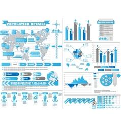 Infographic demographics 2 blue vector