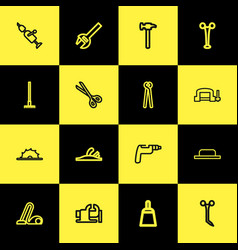 Set of 16 editable apparatus outline icons vector