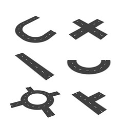 set of isolated parts of the road junction vector image