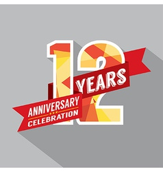 12th Years Anniversary Celebration Design vector image